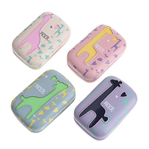 NKYSM Kontaktlinsen Aufbewahrungsbox Cartoon PU Case Halter Aufbewahrungsbehälter Portable Mithelfer