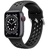 Songsier Correa Compatible con Apple watch 38mm 40mm 41mm 42mm 44mm 45mm, Silicona Suave Respirable Orificio de Aire Pulseras Deportivas Correas de Repuesto para Iwatch Series 7 6 5 4 3 2 1 Se