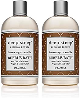 Deep Steep Bubble Bath, Brown Sugar Vanilla, 17.5 Ounce 2-Pack