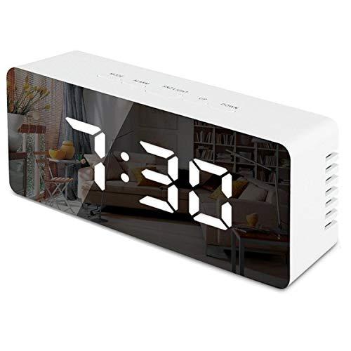 zanasta Digital Uhr LED Wecker inkl. Temperaturanzeige | Schlummerfunktion 12-/24-h-Format | Nachtmodus | 2x Helligkeitsstufen | Weiß