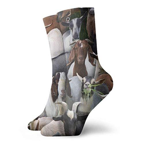 QUEMIN Calcetines Transpirables Animales de Granja Cabras Calcetines Exóticos Modernos Mujeres y Hombres Impresos Calcetines Deportivos Deportivos Calcetines de 30 cm