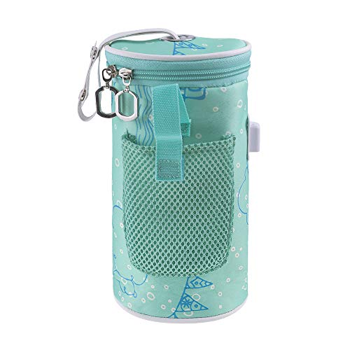Topwon Baby Bottle Warmer Bag Portable USB Heating Breast Milk Warmer Bag Insulated Baby Bottle Tote Bag for Outside Walk, Shopping, Travelling
