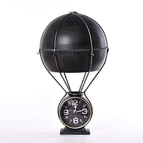 SWNN Reloj Despertador Creativo Globo De Aire Caliente Reloj De Hierro Forjado Estudio Oficina Decoración Reloj Adornos Relojes Café Relojes De La Casa (Color : Black)