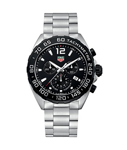 TAG Heuer Men's Formula-1 43mm Steel Bracelet & Case Swiss Quartz Black Dial Analog Watch CAZ1010.BA0842
