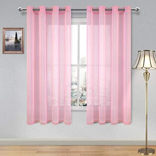 DWCN Baby Pink Sheer Curtains for Living Room Bedroom Faux Linen Look Voile Drapes Grommet Top Window Curtain Panel 52 x 63 Inch Length, Set of 2 Panels