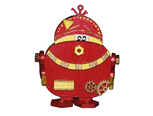 Petra's Bastel News Holz-Bastelset Roboter P B zwo Größe ca. 160 mm mit passender einglasigen Brille, holzfarben, 20x15x5 cm