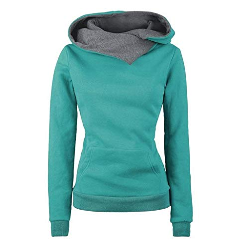 Janly Clearance Sale Womens Long Sleeve Tops Women Long Sleeve Hoodie Sweatshirt Sweater Hooded Cotton Coat Pullover Women Plain Color Blouse for Easter Gifts Deal Green 3XL