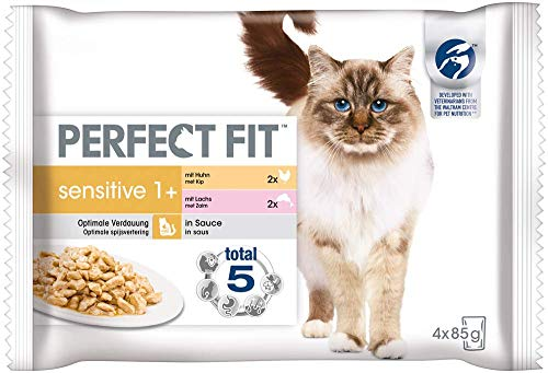 Perfect Fit Sensitive 1+ – Nassfutter für erwachsene, sensible Katzen ab 1 Jahr – Lachs in Sauce & Huhn in Sauce – Unterstützt die Verdauung – 13 x 4 x 85 g