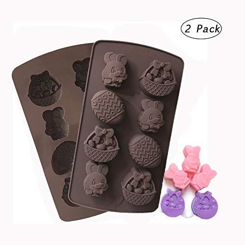 Hebudy, stampi da forno in silicone antiaderenti per cioccolatini, caramelle, dolci, animali pasquali, teglie fai da te, 2 pezzi