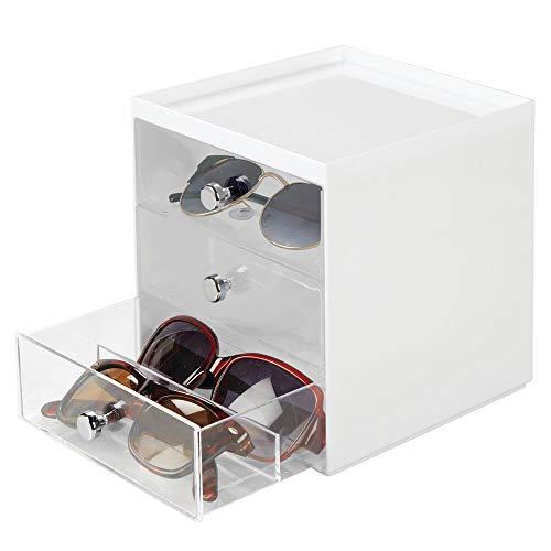 mDesign Aufbewahrungsbox für Brillen – Brillenablage aus Kunststoff mit 3 Schubladen – Brillenaufbewahrung für Brillen, Sonnenbrillen und Lesebrillen – weiß/transparent
