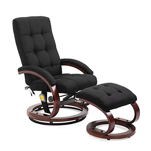 Mingone Massagesessel 8 Schwingmassagepunkte Relaxsessel Fernsehsessel mit Heizfunktion (Schwarz)