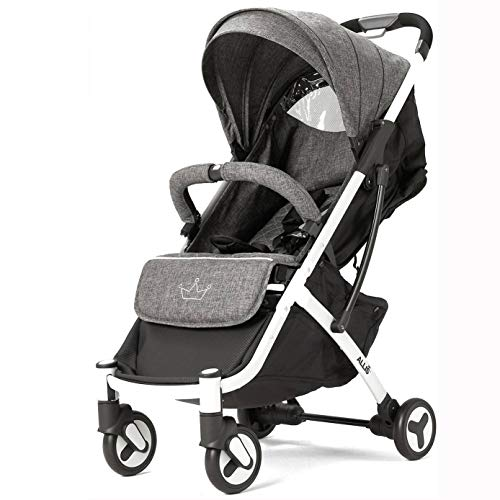 Allis Plume Travel Stroller, Lightweight Cabin Friendly Pushchair with Independent Four Wheel Suspension and Five Point Harness, Grey Baby Pushchair for Babies from 6 Months