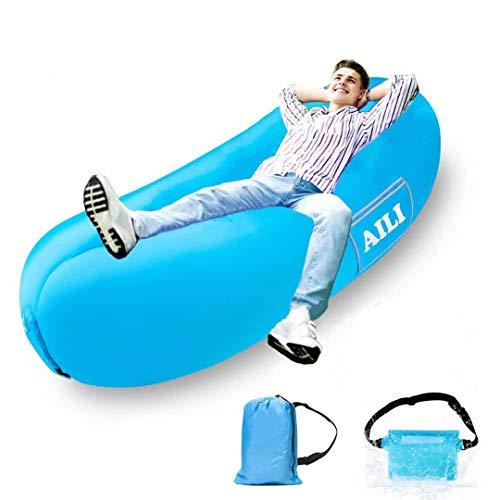 AILI Aufblasbare Liege wasserdichte Luftsofa-Hängematte Mit Kopfstütze, Auslaufsichere Tragbare Couch, Schnell Aufblasbares Luftbett, Faule Liege |Blau|25X10X3CM