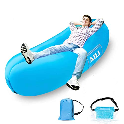 AILI Inflatable Lounger Waterproof Air Sofa Hammock with Headrest, Leak-proof Portable Couch, Fast Inflating Air Bed, Lazy Lounger for Backyard/Pool/Beach/Camping