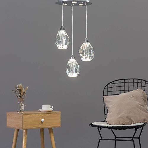 KOSILUM - Lustre LED style cristal de roche - Mara - Lumière Blanc Chaud Eclairage Salon Chambre Cuisine Couloir - 24W - 2480 lm - LED intégrée - IP20
