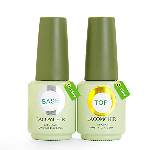 Lacomchir Base E Top Coat Semipermanente per Unghie in Gel Trasparente 15ml x 2pcs UV LED Soak off Smalti Semipermanenti Smalto Gel Unghie UV Manicure kit