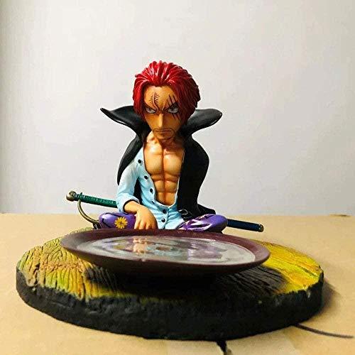 One Piece Anime Shanks Red-Haired Beber Escena Sentado Postura Figura Decoración Premium Versión Estatua Muñeca Escultura Juguete Altura 12 8cm