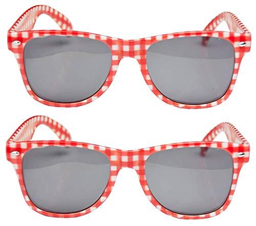 Das Kostümland 2er-Set Rot Weiß Karierte Brille Andreas