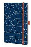 Chronoplan 50461 Buchkalender Kalendarium 2021, A5 Softcover, Wochenplaner (135x210mm, 1 Woche auf 2 Seiten), Lattice, Deep Ocean Blue