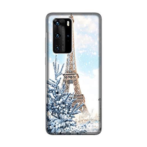 Desconocido Funda P40 Pro Carcasa Huawei P40 Pro Torre Eiffel con Nieve/Cubierta Imprimir también en los Lados/Cover Antideslizante Antideslizante Antiarañazos Resistente a Golpes Protectora Rígida
