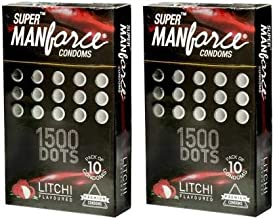 Manforce SUPER LITCHI FLAVOR CONDOM WITH 1500 DOTS LIKE AS EXTRA DOTTED CONDOM SET OF 2 (2 * 10S) 20S