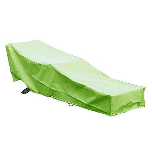 GREEN CLUB Housse De Protection pour Chaise Longue transat de Jardin Haute Qualité Polyester doublée PVC L 205 x l 70 x h 60 cm Couleur Vert