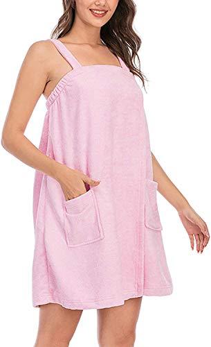 Toalla de baño para mujer, albornoz de ducha, bata de baño, spa, gimnasio, pareo suave, bata de playa, falda de baño (rosa, grande)