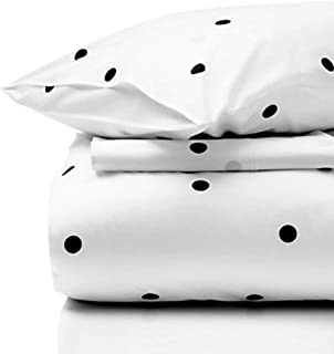 Kate Spade 4 Piece  King Size Deco Dot Sheet Set Black and White 100% Cotton
