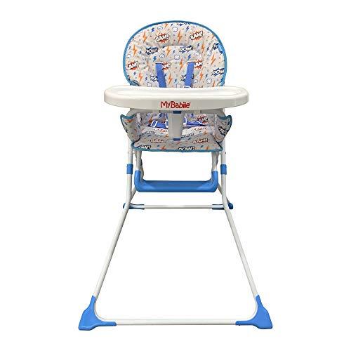 My Babiie MBHC1 BAM! Trona compacta y suave, cómoda, ultraligera, asiento acolchado, soporte para tazas, reposapiés y bandeja fácil de limpiar, apto para 6 meses a 15 kg, color azul