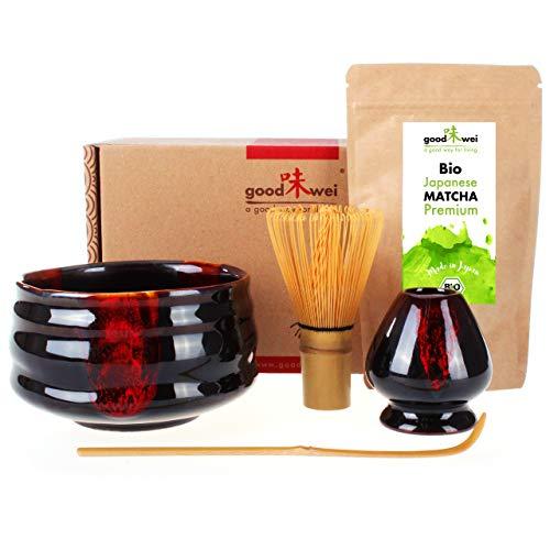 Teezeremonie-Set mit hochwertiger Matcha-Schale und echtem Bio Matcha aus Japan (Akai)