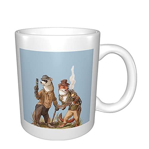 Steampunk-Wiesel-Tasse, Keramik-Tassen für Kaffee, Tee, Kakao, große Kaffeetasse mit Griff, Teetasse für Büro & Zuhause, niedliche Porzellantassen, Geschenk für Muttertag & Geburtstage & Feiertage