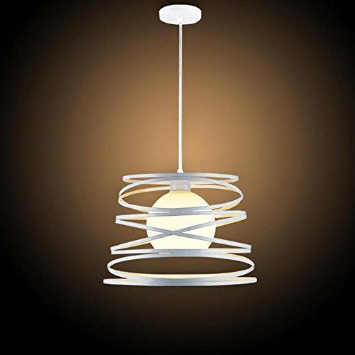 Modern Pendelleuchte E27 1 flammig Deisgn Küche Lampe Flur Arbeitszimmer Leuchte Esszimmerlampe Decke Beleuchtung Weiß Eisen Rahmen und Glass Lampenschirm Durchmesser 32cm Abhängung 100cm