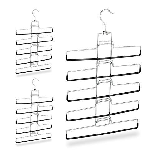 Relaxdays meervoudige broekbeugel, set van 3, 15 broeken, ruimtebesparend, antislip, uitneembare beugel, h x b x d: 52 x 33,5 x 2 cm, zilver, 3 stuks
