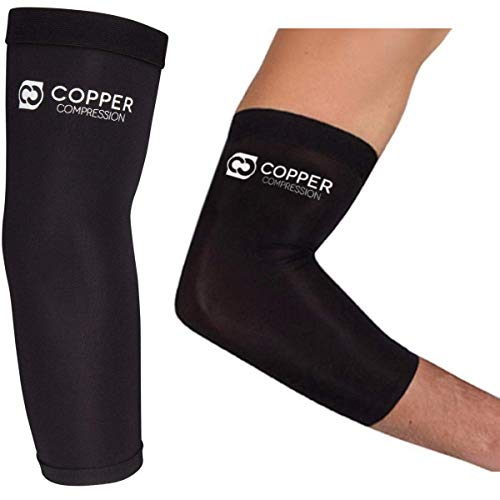 Copper Compression Recovery Elbow Sleeve - Guaranteed Highest Copper Content Elbow Brace for Tendonitis, Golfers or Tennis Elbow, Arthritis. Elbow Support Arm Sleeves Fit for Men and Women (XL)