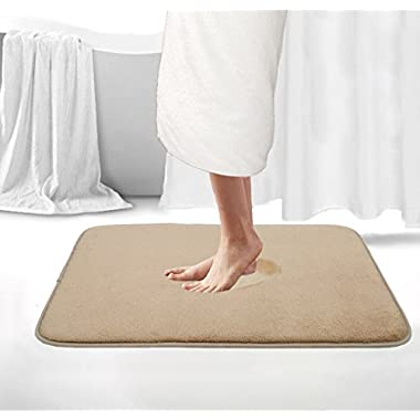 Memory Foam Bath Mat Non Slip Shower Rugs with Soft, Comfortable, Beautiful and Maximum Absorbency Fast Drying Bathroom Rugs Carpet (20  X 32 , Beige)