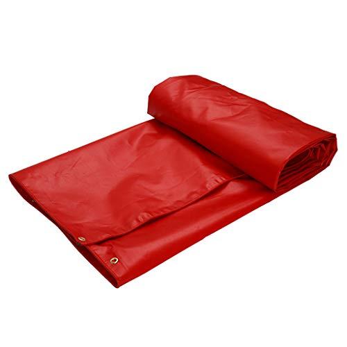 Bâches de protection Imperméable à l'eau Tissu épaississement PVC bâche Trois Anti-Tissu Huile Tissu Solaire crème Solaire imperméable Coupe-Vent Tissu auvent (Color : Red, Size : 3 * 3m)