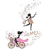 Girl Bedroom Living Room Wall Decal, 2 Sheets of Wall Stickers | Flower & Butterfly Mural | Girl Wall Decals | Feminine Wall Stickers for Women, Kids Bedroom Wall Sticker, Fantasy Decor by: JUMI.O