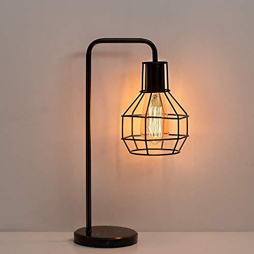 Lámpara de mesa vintage - Dormitorio Oficina Mármol Base de lámpara de jaula Iluminación decorativa Lámpara de noche Industrial E27 Negro