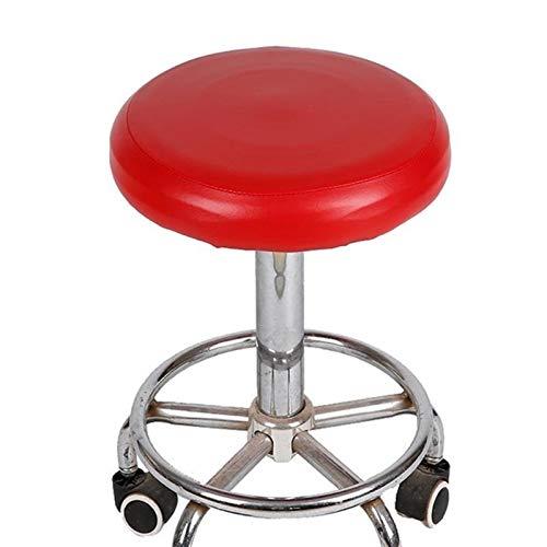 XYBB Elastische Pu-Leder Runde Hocker Stuhlabdeckung wasserdichte Pumpe Stuhl Schutzleiste Kleine Runde Sitzkissen Hülse (Color : Red, Specification : 28 * 35cm)