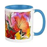 Tazza con farfalle di ibisco, interno bianco / blu