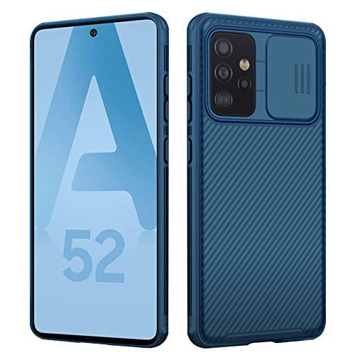 Pengkun Funda para Samsung Galaxy A52 4G/ 5G Deslizante Cámara Proteger, Protección cámara Carcasa Cubierta cámara Deslizante Proteger Ultra Delgado Estuche Híbrida PC Anti Choque Anti Arañazos, Azul