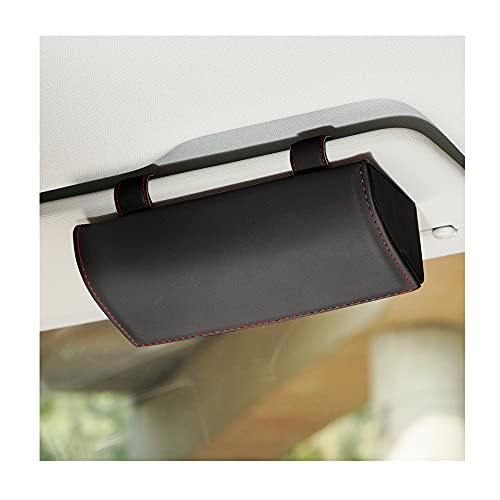 Junzheng Auto Brillenhalter Sonnenblende Brillenetui,Sonnenbrillen Etui Auto mit Magnetischem Funktion,PU Leder Auto Brillenbox Aufbewahrungsbox Organizer,für Auto SUV RV LKW