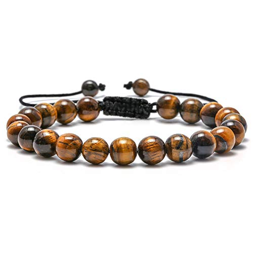M MOOHAM Mens Tiger Eye Bracelet Gifts - 8mm Tiger Eye Lava Rock Stone Mens Anxiety Bracelets, Stress Relief Adjustable Tiger Eye Bracelet Mens Gifts Gandpa Gifts Grandfather's Gifts Bracelet