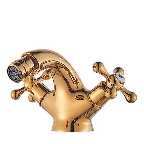 Grifo Latón antiguo bidé ducha del grifo del lavabo de doble cruz manijas de agua fría caliente de mezclador del grifo sin plomo Boquilla Aseo agua del grifo lavabos (Color : Golden)
