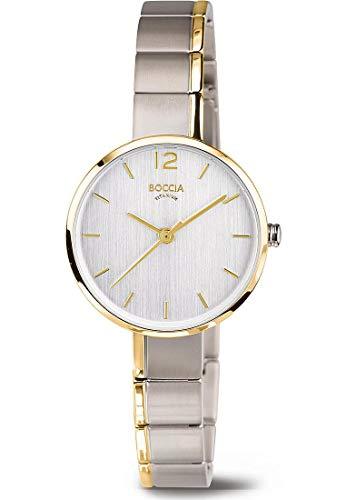 Boccia Damen Analog Quarz Uhr mit Titan Armband 3308-02