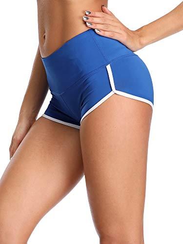 Cadmus Women's Workout Yoga Gym Shorts,1301,Blue,X-Large