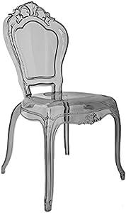 Ghost Sedia da Pranzo, Colore: Grigio fumé, Trasparente Louis Style, in policarbonato, plastica, Belle Stile Francese Vogue Vanity Chair by Millyanne Londra