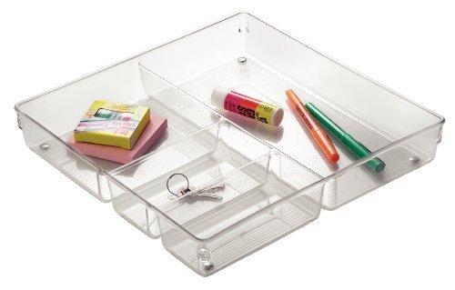 iDesign range couvert, grand casier rangement plastique pour couverts et autres ustensiles, rangement tiroir à 4 compartiments, transparent
