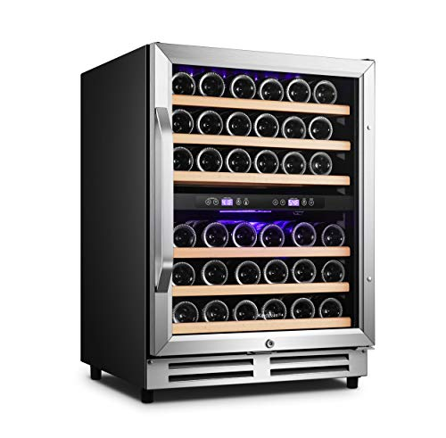 Karcassin 24 inch Wine Cooler Refrigerator – Compressor Wine Bottle Chiller – 2 Compartment – Dual Temp Zones for Red & White – Stores upto 46 Bottles