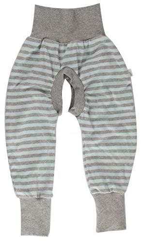 iobio™ Crawlers EasyFree™ Splitpants - Windelfrei Schlitzhose aus Bio Baumwolle für EasyFree Windel (62/68, Blue Grey Striped)